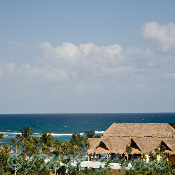 This is a picture of the beach cabana taken from the balcony of the main pavilion.  Grand Sirenis Resort.  Riviera Maya.