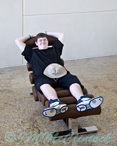Stephen on a lounge chair.  He says it is more fashion than function.