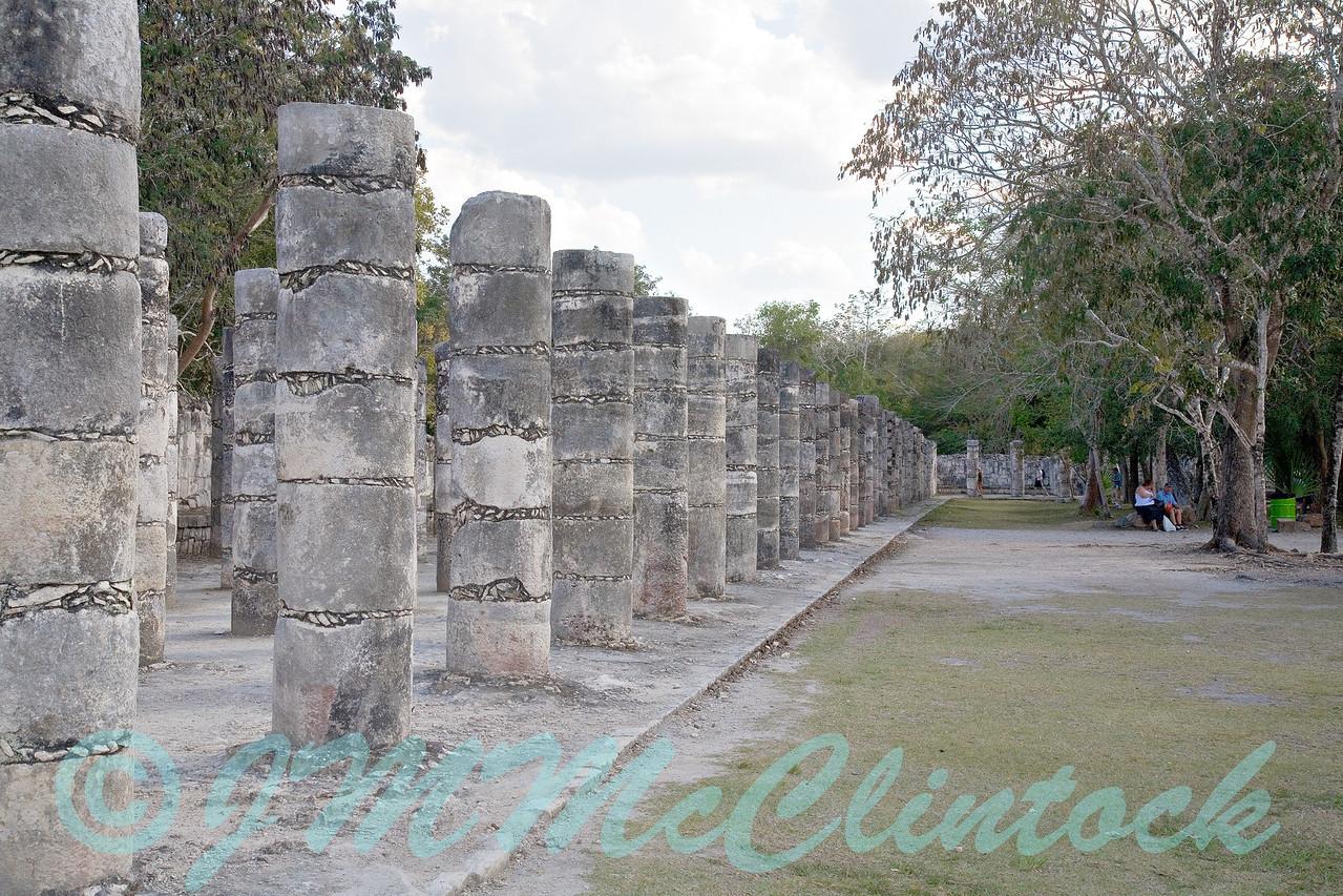 Merchant stalls in the Mayan ruins. Chichen Itza.