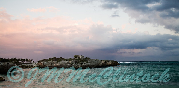 Northern sky at sunset on the beach.  Grand Sirenis Resort.  Mayan Riviera.