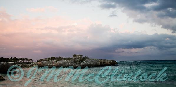 Northern sky at sunset on the beach.  Grand Sirenis Resort.  Mayan Riviera.