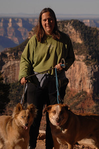 "The Grand Canyon Meredith, Miss Hapa & the Jo Jo ""no throwing ball here. That's fur sure... no chasing squirrels, either."""