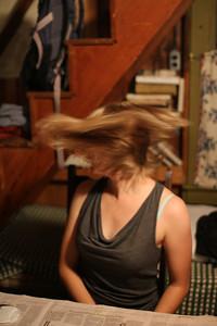 Chelsea enjoys her haircut.