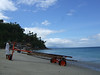 Boat carrier.  Beautiful beach scenes on White Beach, Puerto Galera, Philippines.