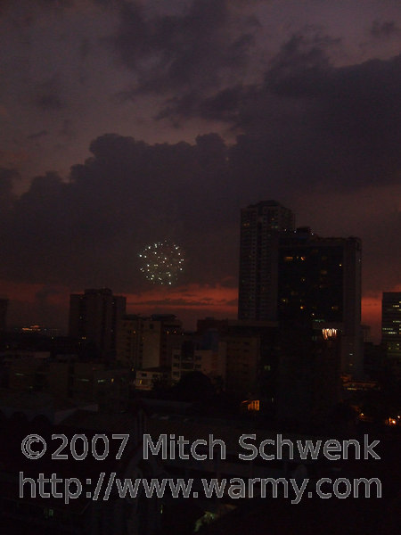 Some random fireworks as seen from my hotel room in Malate, Manila.