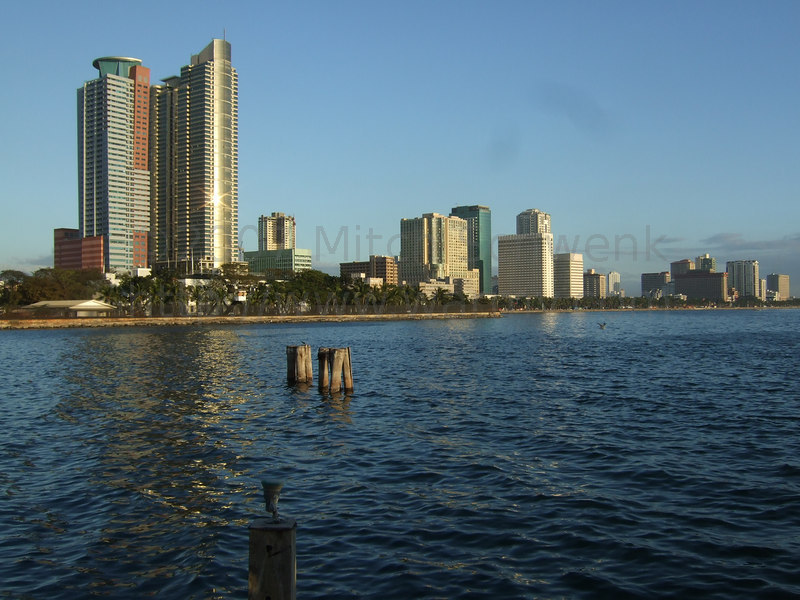 Out on a peir in Manila bay, having a nice, slow paced dinner lasting a few hours.