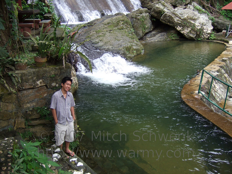 Tomas at the lower of the two pools at Tamaraw Falls swimming area.