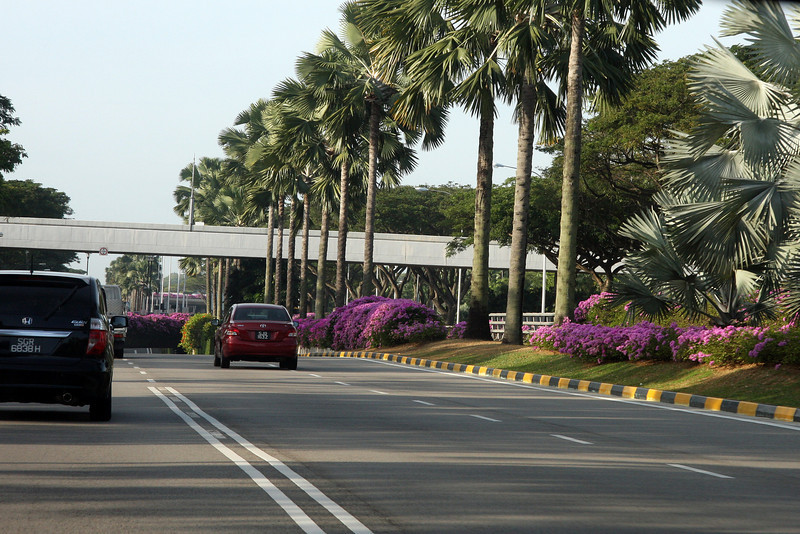 Road from the Singapore airport to town