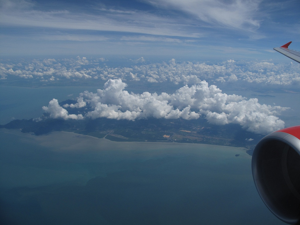 Flying North past the Island of Penang, Malaysia