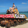 tank at the edge of Flamenco Beach