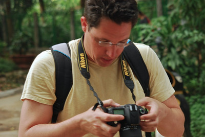 Brett, my follow photographer checking out the monkeys in Ho Chi Minh City zoo