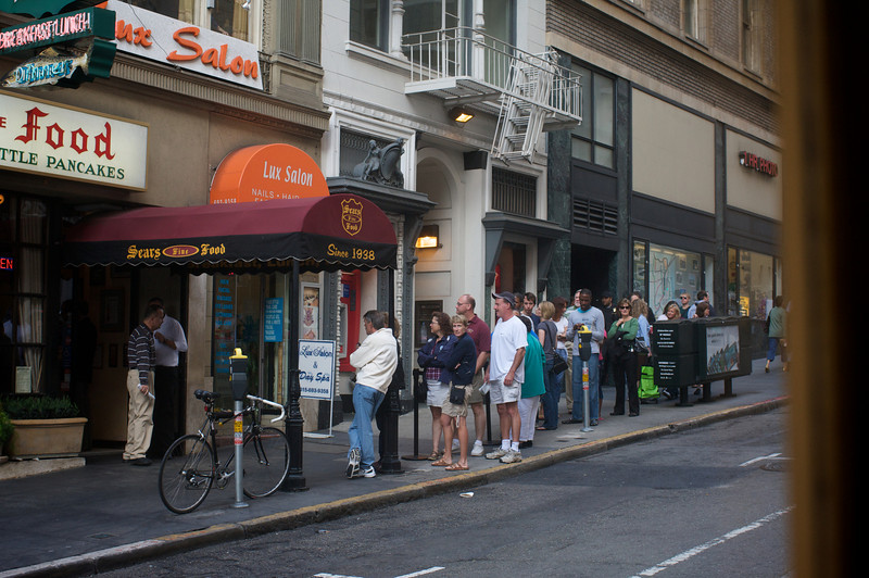 <center>A shot of the line for Sears from the cable car</center>