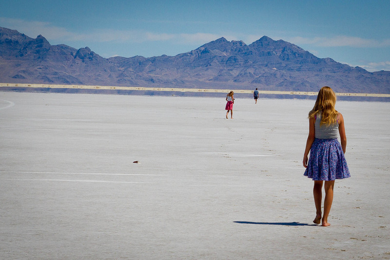 On our way to visit Johh, Michele and Rachel Barta in Pleasanton, California.  Summer of 2012.  A short stop on the Utah Salt Flats, just an hour or so from home.