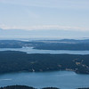 Looking west at Friday Harbor on San Juan Island with the Olympic mountains in the distance
