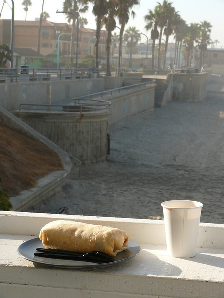 A breakfast burrito from the surfer cafe nearby.