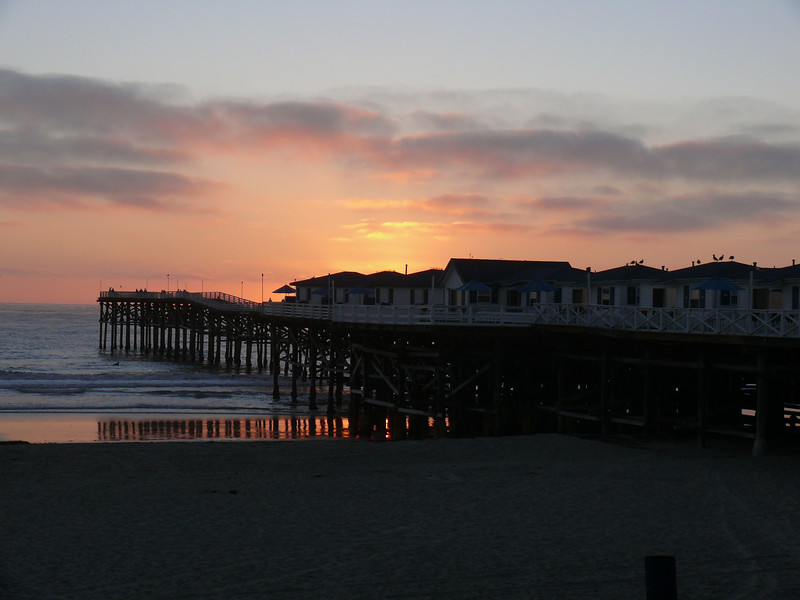 "Our ""hotel,"" on the Crystal Pier on Pacific Beach. Our cabin was the one farthest to the right."