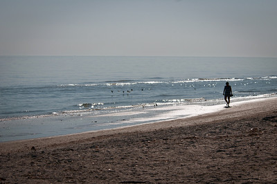 Karen walks the beach