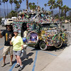 We see this 'peace van,' for lack of a better description, every summer when we visit Santa Barbara. This particular day we'd been riding our tandem bike when we came upon this 'work of art(?).'The guy standing next to Carol is the 'proud' owner and for a 'donation,' would let you have a picture with him and his van.I think we gave him a dollar. He said if memory serves me that he got divorced several years earlier - his wife got the house and he got the van. He said he'd been on the road ever since!