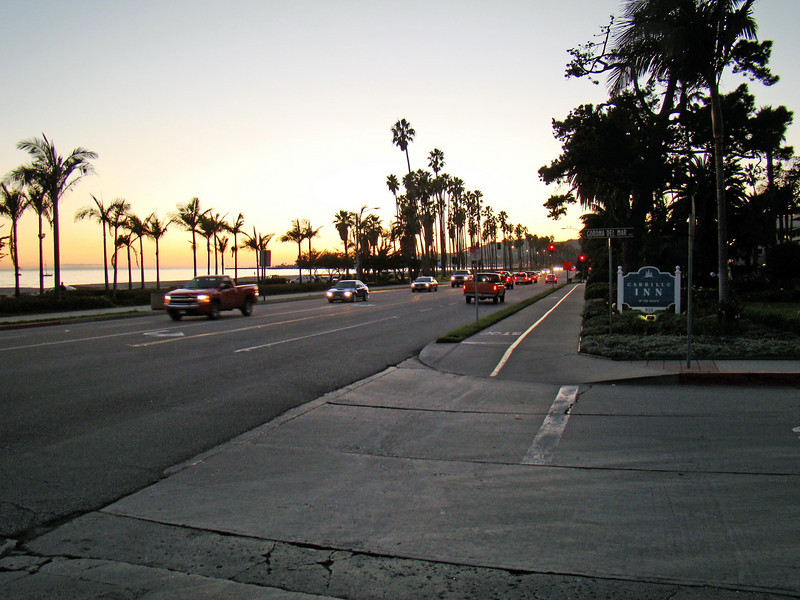 Cabrillo Blvd at Corona Del Mar. The Motel 6 is just to the right about 20-30 yards on this side of Corona Del Mar.