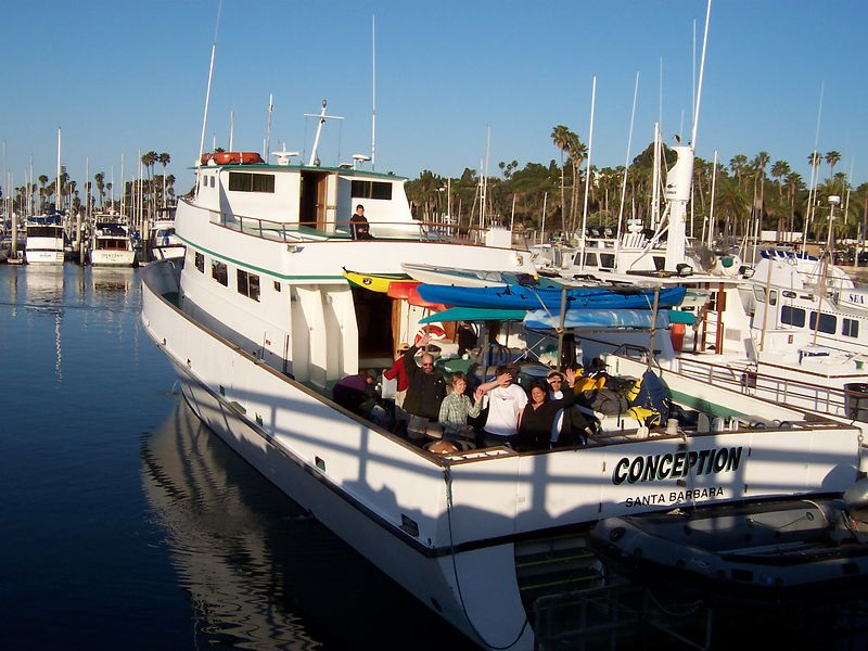 "<br><br> <font  size = ""3"" color = ""white""> Friday morning in Santa Barbara harbor, about to depart. <br>Many campers are still below deck asleep in the bunks. </font><br>"
