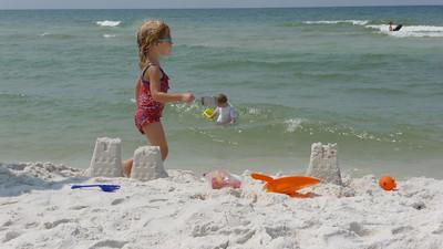 Sand castle building begins in ernist.