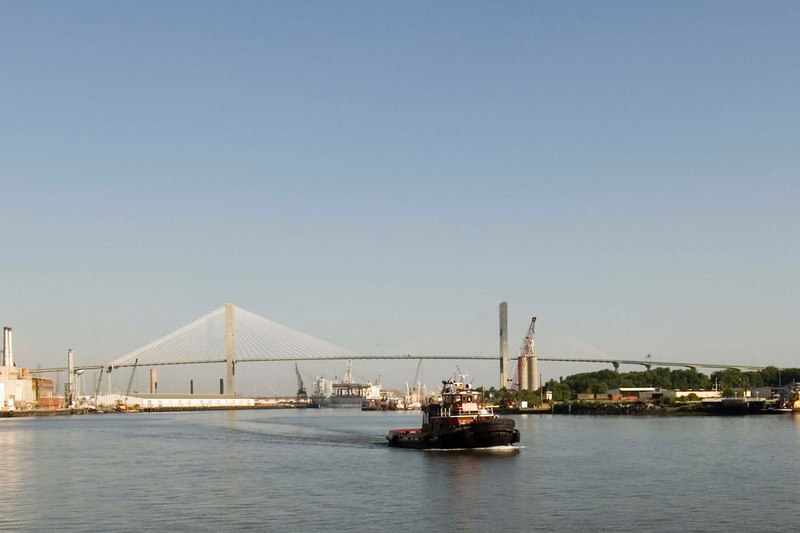 A view from just outside our room to the new bridge over the Savannah River