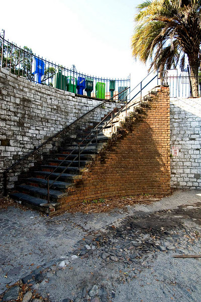 Steps up to the historic district from the river