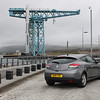 Scottish Rental Car - Renault MEGANE.<br /> <br /> In the background is the Titan Crane, Clydebank, Scotland