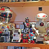 Collection of toy robots at a local pub in Gairloch.