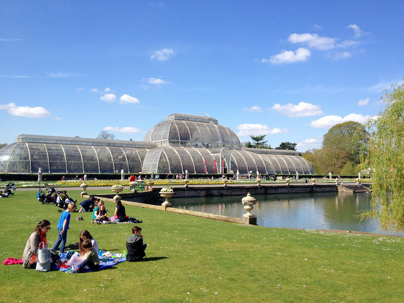 Kew Gardens was beautiful on this amazing London day. It is a botanical gardens.  Here is the palm house, a glass greenhouse make in Victorian times.