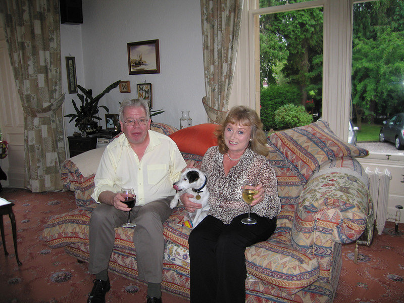 Tim, Fiona & Pip - We had drinks with them in their sitting room before going to dinner at Osta's