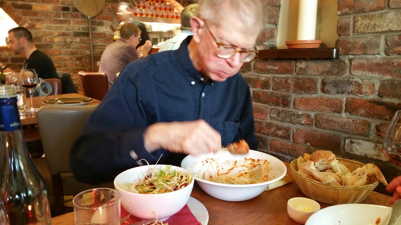 Bob enjoying dinner at Dodds