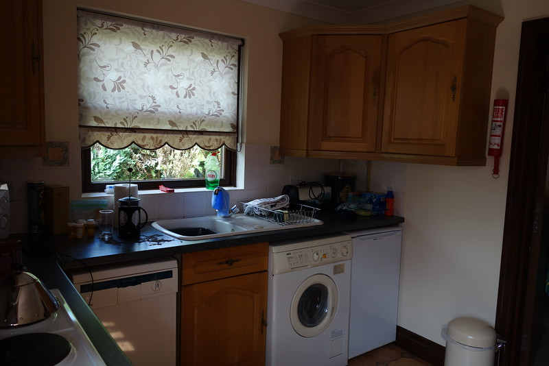 The kitchen in our rental cottage.  Never did get the hang of that washer/dryer combination.