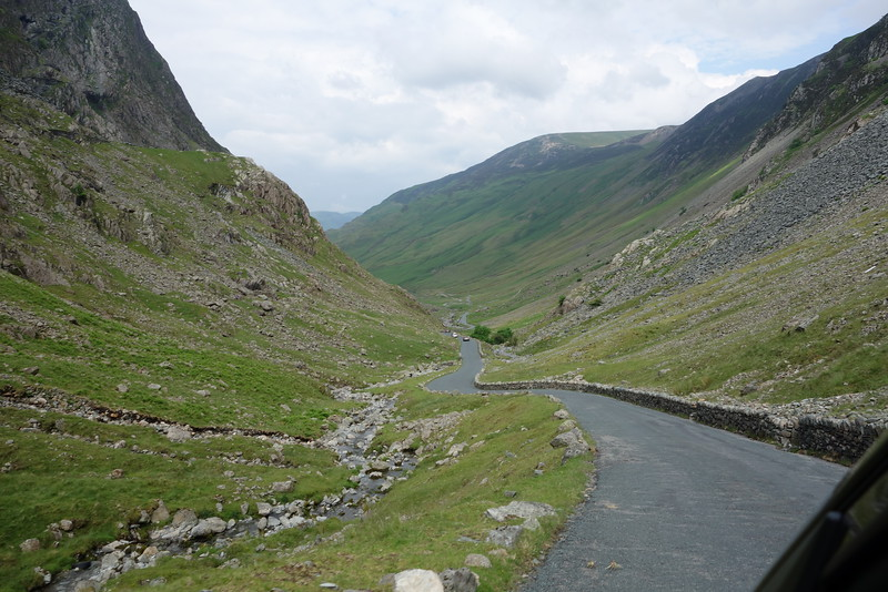 Wednesday morning we drove over the Honister Pass.  The road was very narrow and winding and very steep in many places.