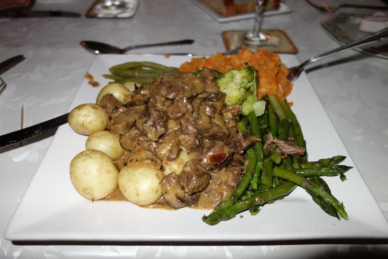 Main course - asparagus, potatoes, mushrooms, broccoli, squash, green beans.  YUM!