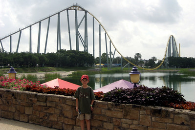 Ryan in front of the Steel Eel - his first coaster - what a daredevil!