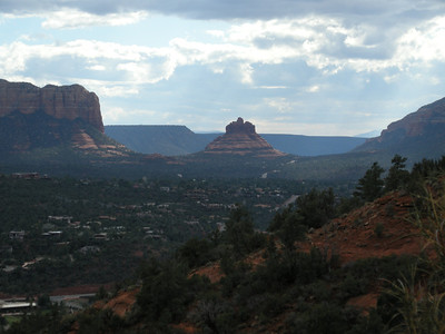 Bell Rock, clouds, and sunbeams.
