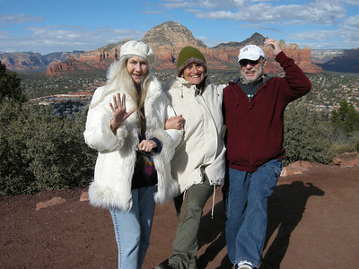 Liberty, Michèle, and Marv near the Sedona Airport. Thunder Mountain in background.