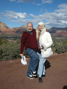 Marv and Liberty near Sedona Airport on a scenic December day.