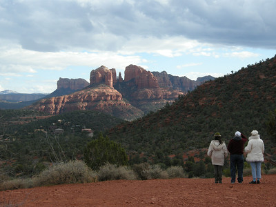 Michèle, Marv, & Liberty at the Red Rock Crossing / Cathedral Rock vortex. Cathedral Rock in distance.