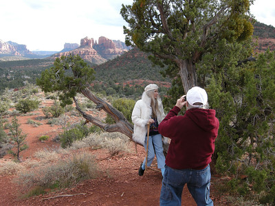 Photographing Marv photographing Liberty. The light was constantly changing & very dynamic; note Cathedral Rock now in sunlight.