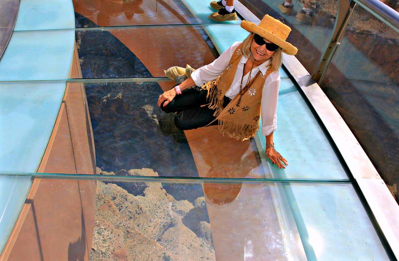 JoAnn On The Glass Floor of the Skywalk
