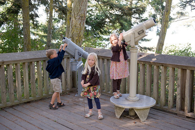 Aaron, Hannah and Kaitlyn playing with telescopes at Dungeness Spit