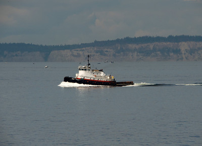 A tug passing the Edmonds to Kingston ferry.
