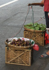 Lotus seed pods for sale  (basket on right).  People eat the seeds inside, I've been told. But I did not try one, or see anyone eating them.