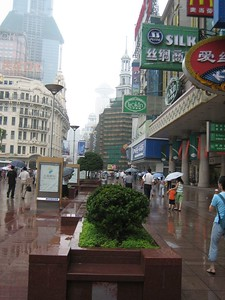My first day in Shanghai. The temperature was comfortable, thanks to the rain. (Previous days had broken heat records.)  This is Nanjing Road, now a pedestrian mall.