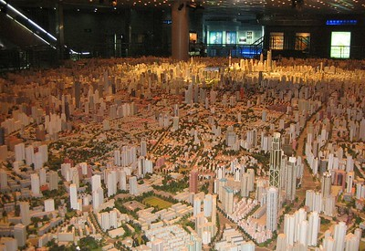 This model of Shanghai occupies about 600 sq meters of the 3rd floor of the Urban Planning Institute Exhibition Hall.  (According to a description someone else posted, the scale is 1:500)