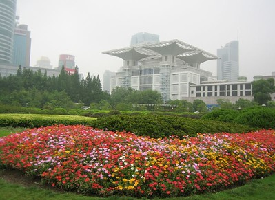 Flowers in People's Park. Building in center background is the Urban Planning Institute Exhibition Hall, which contains an amazing model of the city (next photo).