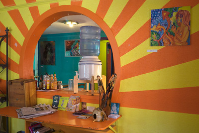 Inside the cafe - very colorful!