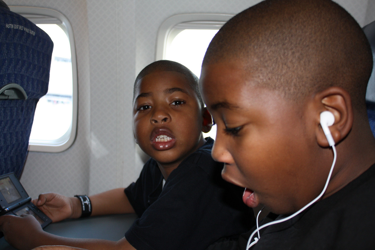 On the plane.
